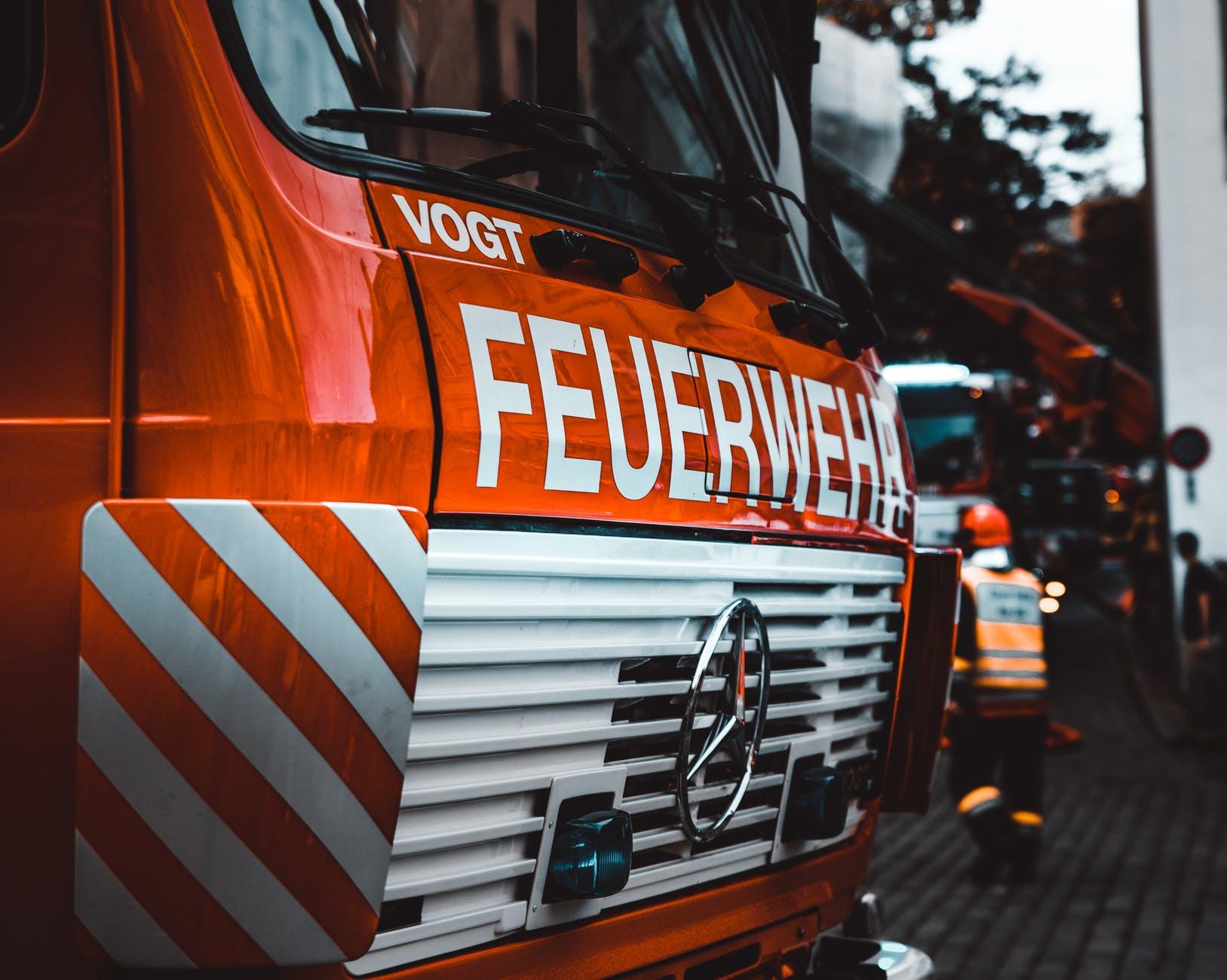 red mercedes benz firetruck